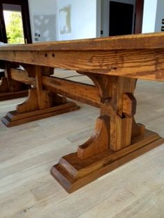 Custom Farmhouse Trestle Table by High Country Cabinets of Banner Elk, NC