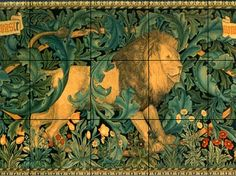 Custom made 'The Forest' Tile Mural based on William Morris tapestry design also titled 'The Forest' 1887.