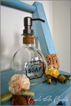 Up-Cycled Patron Bottle Soap Dispenser with Vintage Inspired Hand Painted Label