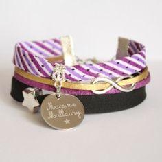 bracelet-tissu-raye-violet-mauve-grave-personnalise