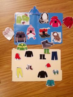 Teach Early Autism - non-identical matching for winter clothes and The Jacket I Wear In The Snow file folders. Free download. Preschool ABA classroom materials