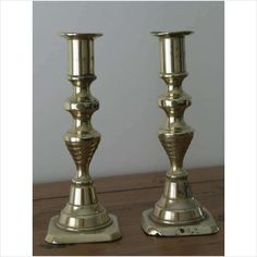 Antique Brass Candlesticks, Beehive Pattern - Tall Listing in the Brass,Metalware,Antiques Category on eBid United Kingdom Candelabra, Candlesticks, Online Marketplace, Beehive, Antique Brass, United Kingdom, Retro Vintage, Candle Holders, Antiques