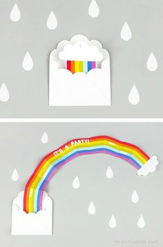 rainbow printable party invitations - super cute paper craft!
