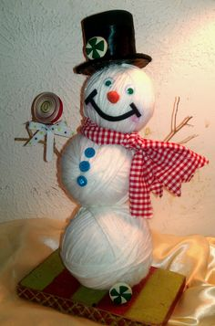 Sweetpeas and Kisses: Yarn Snowman. Use plastic Christmas balls from dollar store, instead of styrofoam balls. Less expensive!