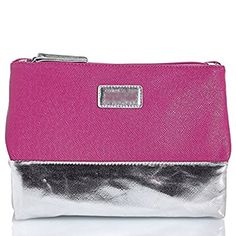 Kenneth Cole Reaction 3-compartment Cosmetics Bag; Chic Style Pyramid Cosmetic Case Folds Out Into Three Handy Compartments (Fuchsia and Silver)