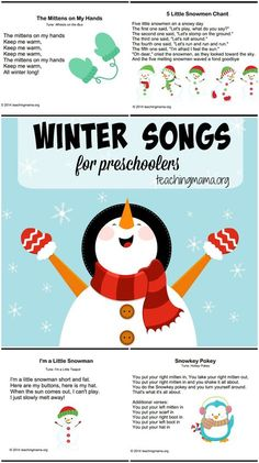 Winter songs for preschoolers along with free printable copies.