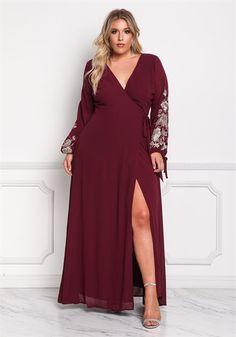 Plus Size Chiffon Embroidered Sleeve Wrap Maxi Dress