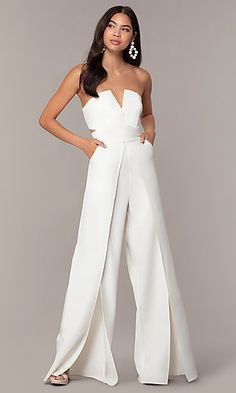 Strapless White Jumpsuit with Wrap Legs