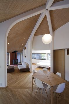 White beams in a wood house!  -The Pentagonal House / Kazuya Morita Architecture Studio