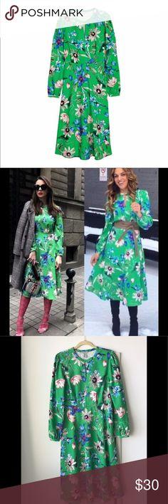 df9f8c75f4ce18 HP!!⚡ 🎊🎉NWT H&M Vibrant Green Floral Midi Dress NWT-