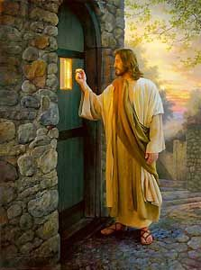 """""""Behold, I stand at the door and knock. If anyone hears my voice and opens the door, I will come in to him and eat with him, and him with me."""" Revelation 3:20 Revelation 3, Lds Jesus Christ Pictures, Jesus Pictures, Pictures Of Jesus Christ, Art Pictures, Christian Art, Christian Paintings, Christian Living, Jesus Painting"""