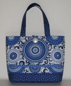 Quilted Tote Bag, Quilted Handbag, Modern Blue and White Medallions, Quiltsy Handmade by TheVillageBagLady on Etsy
