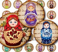 Russian Folk Art Matryoshka Babushka Nesting doll Circles Digital Collage Sheet 1x1 inch. Printable round images for pendants cabochon 059 BaikalGraphics on etsy