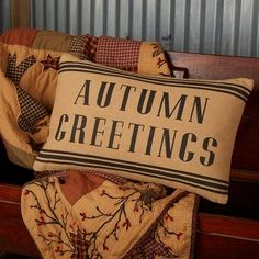 """Give your guests a warm welcome this fall with our 14x22 Heritage Autumn Greetings Throw Pillows. These seasonal accent pillows feature natural woven burlap and the phrase """"Autumn Greetings"""" stenciled in the center with decorative stripes along the top and bottom. This versatile pillow can be reversed to the simple burlap material and buttons on the back for a fresh, updated look. This seasonal throw pillow pairs perfectly with rustic and country home decor to create a cozy, relaxing… Pillow Inserts, Pillow Covers, Primitive Fall, Primitive Pillows, Fox Decor, Queen Quilt, Burlap, Throw Pillows, Accent Pillows"""