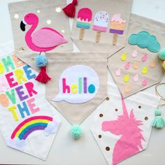 Make canvas banners stencil a unicorn for the girls and a shield/knight for the boys let the kids paint/color with markers as a party favor/activity Felt Diy, Felt Crafts, Diy And Crafts, Arts And Crafts, Glow Crafts, Diy For Kids, Crafts For Kids, Felt Banner, Felt Bunting