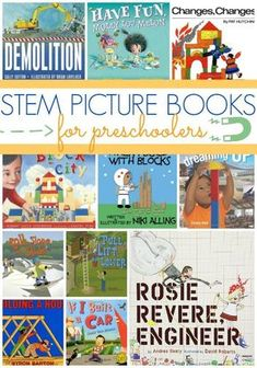 STEM Picture Books for Preschool – Pre-K Pages Best STEM Picture Books for Preschoolers. A list of books about Science, Technology, Engineering, and Math your preschool kids will actually like! Kindergarten Books, Preschool Books, Preschool Science, Science Books, Preschool Classroom, Books For Preschoolers, Classroom Ideas, Preschool Library, Kid Science