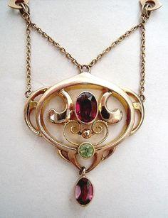 Murrle Bennett Art Nouveau Gold Pendant Necklace Peridot & Garnets