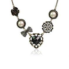 Vintage Rhinestone Inlaid Heart Flower Multielement Pendant Necklace Necklaces | RoseGal.com Mobile