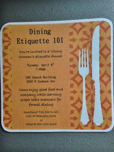 Young women's etiquette dinner invite