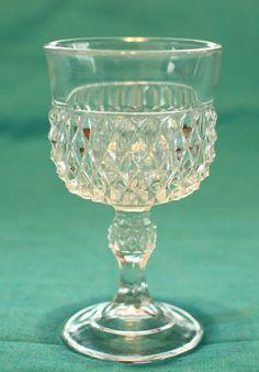 9fd0501b672 Indiana Glass Diamond Point Wine Glass.  3.00