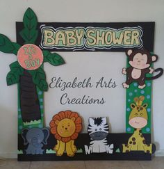 Jungle Party, Jungle Theme, Solo Selfie, Party Frame, Baby Shawer, Photo Pin, Minnie, Diy, Anime