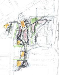 retail plan concept I Randy Carizo Concept Models Architecture, Paper Architecture, Urban Architecture, Architecture Drawings, Urban Design Diagram, Urban Design Plan, Landscape Concept, Landscape Design, Conceptual Sketches