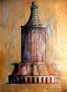 MY MODELS AND DRAWINGS Torre conmemorativa 2011.    (dibujo sobre papel de bolsa de cemento)  A.L.Moure Strangis.