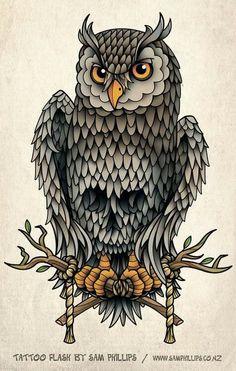 Tattoo old school, owl skull tattoos, owl tattoo drawings, sam phillips, sk Owl Tattoo Design, Tattoo Designs, Lechuza Tattoo, Owl Skull Tattoos, Wolf Tattoos, Fish Tattoos, Sugar Skull Owl, Traditional Owl Tattoos, Buho Tattoo