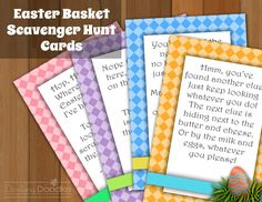 Easter Basket Scavenger Hunt Cards My kids love it when I put clues in the plastic eggs, so this might be something to try this year.