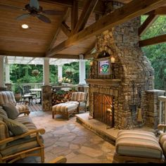 Outside fireplace! I'm a bit in❤ with this whole set up!!!! Cozort may need to build this for us to match our rock on the house & inside fireplace
