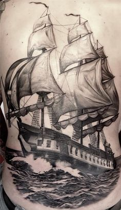 boat tattoo design - As boats travel over water, boats have always represented a journey, adventure.