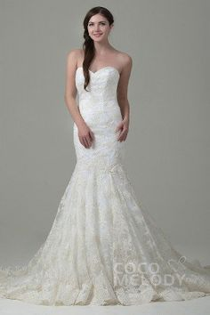 Fabulous Trumpet-Mermaid Sweetheart Train Lace Ivory Sleeveless Lace Up-Corset Wedding Dress with Appliques #cocomelody #weddingdresses