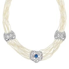 Belle Epoque Ten Strand Seed Pearl, Platinum, Sapphire and Diamond Necklace. Circa 1910.