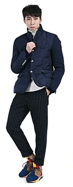 Stripe pants with duck down jacket