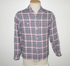Vintage 1950s Pink & Gray Plaid Long Sleeve Shirt By Penney's Towncraft - Size M by SayItWithVintage on Etsy
