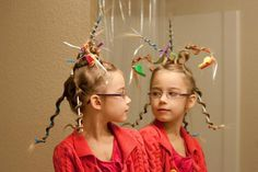 """This is adorable for """"Crazy Hair Day.""""  Good Idea for Wacky Tacky Halloween Hair too!"""