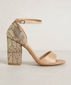 There's something deliciously Art Deco about these gilded chunky heeled sandals #anthropologie