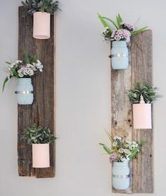 If you don't like the idea of hanging too many picture frames on every wall, then try this pallet wall decor. It can fill the space in a more original way. This is a homemade item so it will be unique!