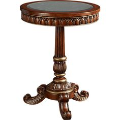Fine Furniture Design Mirror Carved Side Table featuring polyvore, home, furniture, tables, accent tables, dresser, shelves, brown end table, shelves furniture, fine furniture design, brown shelf and scroll table
