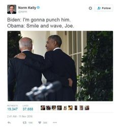 Donald Trump will soon be moving in to the White House with his chosen Vice-President elect Mike Pence. It's a sad state of affairs, but people are trying to make light of the situation by celebrating the bromance between Barack Obama and his current Vice President Joe Biden. Here are thememes about the final White House conversations between Obama and Biden.