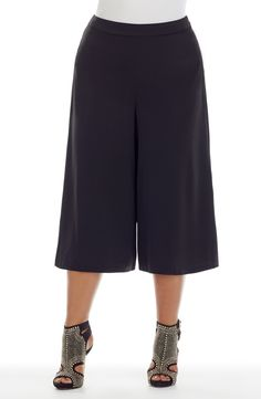 Wide leg Culotte Skirt - black - Style No: Microfibre Twill fabric culotte skirt. This is a longer length culotte with a side zip and a self fabric waistband. Plus Size Pants, Fashion Cycle, Wide Leg, Diva, Black Style, Legs, Skirts, Fabric, Tela
