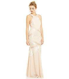 JS Collections All Over Champagne Sequin Halter Gown #Dillards
