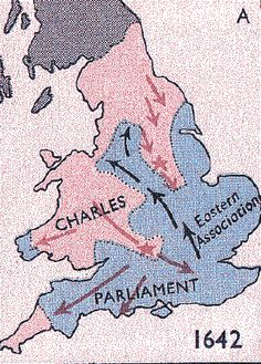 Territory map of the English Civil War