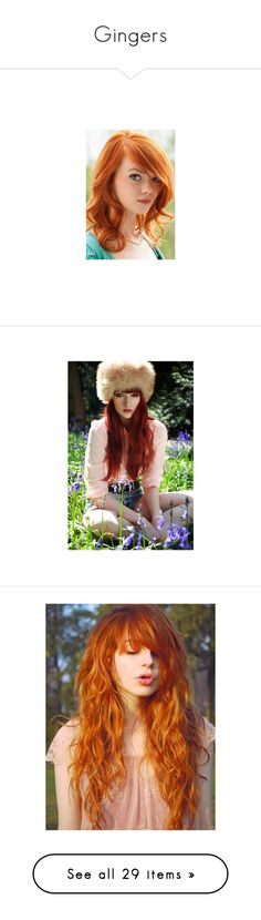 """""""Gingers"""" by s-micka ❤ liked on Polyvore featuring accessories, hair accessories, hair, people, faces, girls, models, pictures, 25. formal hair. and pink headbands"""