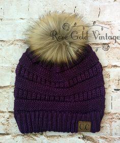 Fur Pom Pom CC Beanie Hats – Rose Gold Vintage