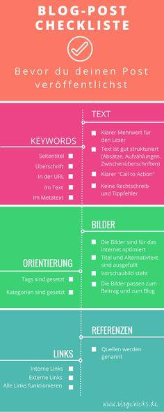 Blog-Post Checkliste: überprüfe diese Punkte, bevor du auf Veröffentlichen klickst I www.blogchicks.de