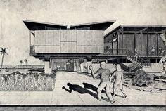 Walter Gropius and Konrad Wachsmann. Paper Architecture, Architecture Drawings, Futuristic Architecture, Classical Architecture, Bauhaus Architecture, Architecture Graphics, Landscape Architecture, Hans Poelzig, Model Sketch