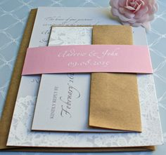 Pink Gray Lace Wedding Invitations with Belly by TaylorsPaperie
