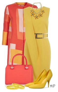 A fashion look from July 2015 featuring yellow dress, Etro and leather tote bags. Browse and shop related looks. Classy Dress, Classy Outfits, Stylish Outfits, Dress Outfits, Fashion Dresses, Look Fashion, Womens Fashion, Winter Fashion, Fashion Tips