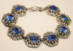 Vintage blue crystal rhinestone bracelet.  by chicvintageboutique